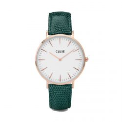 Cluse - Montre La Bohème Rose Gold White/Emerald Lizard (cl18038)