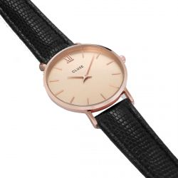 Cluse - Montre Minuit Rose Gold Champagne/Black Lizard (cl30051)