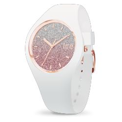 Ice Watch - Montre femme paillettes roses bracelet silicone blanc Ice Lo (013427)