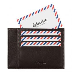 Larmorie - Porte-cartes homme en cuir lisse Made in France Paul