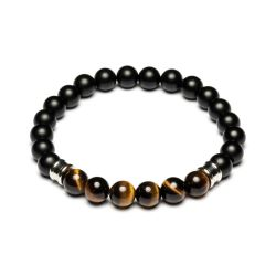 Gemini - Bracelet noir et marron en pierre naturelle Melas Black/Tiger Eye (m4)