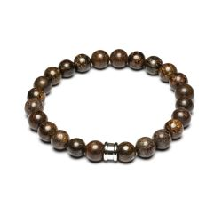 Gemini - Bracelet en pierre naturelle bronzite marron Alpha Brown (a5)