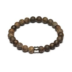 Gemini - Bracelet en pierre naturelle bronzite marron Alpha Mat Brown (a11)