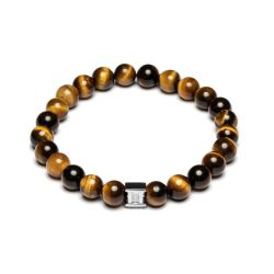 Gemini - Bracelet en pierre naturelle oeil de tigre marron Gem Tiger Eye (g1)